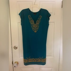 Blu Sage Dresses - Blu sage dress with gold beading